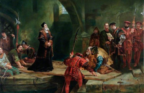 """""""Thomas Cranmer en la Puerta del Traidor"""", lienzo historicista de Frederick Goodall, Torre de Londres, Reino Unido."""