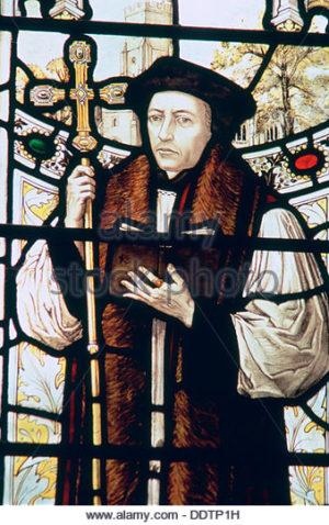 Detalle de Thomas Cranmer (1489-1556) en la iglesia de San Nicolás de Sevenoaks, Kent (Reino Unido).