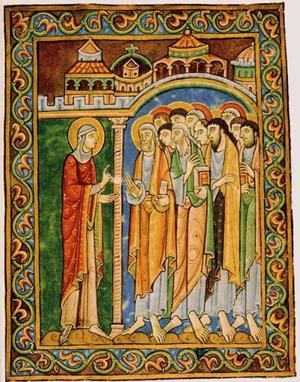 Miniatura medieval románica que representa a la Santa anunciando la Resurrección de Cristo a los apóstoles, procedente de Hildesheim, Alemania