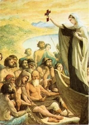 La Santa predicando a la multitud. Ilustración contemporánea.