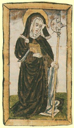 Miniatura de la Santa en un códice de la biblioteca de la catedral de Sankt Gallen (Suiza).