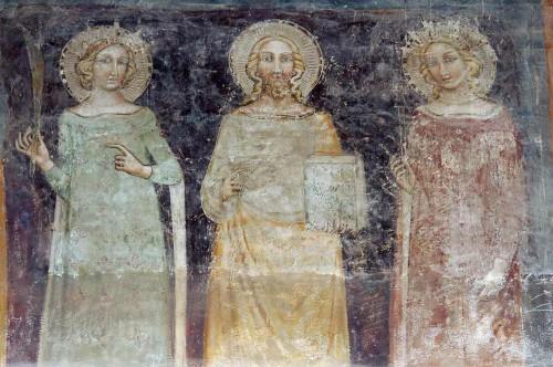 Fresco gótico de los Santos Artemio, Cándida y Paulina. Región de Emilia, Italia, s.XIV.