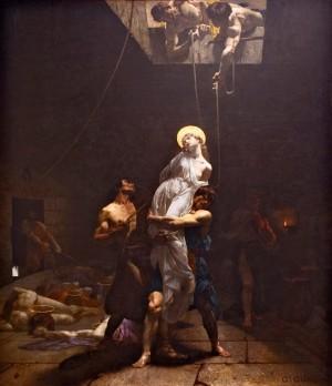 """""""El Tullianum"""" o """"Martirio de Santa Paulina"""", obra de Gabriel Guay. Museo del Palacio Vergara, Chile."""
