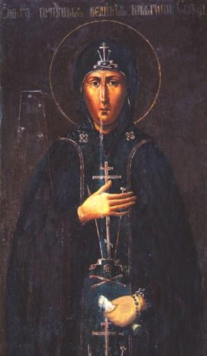 Santa Sofía de Suzdal ataviada con el hábito de las religiosas ortodoxas. Óleo sobre tabla. Rusia.
