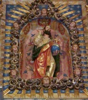 Imagen del Salvador en el retablo principal. Iglesia de Ayoó de Vidriales, Zamora (España).