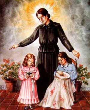 Estandarte de la Beata, amparando a jóvenes y niñas, a las que enseñana bordado y las Sagradas Escrituras.