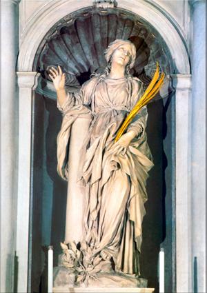 Escultura en mármol de la Santa, obra del escultor barroco Gian Lorenzo Bernini. Iglesia de Santa Bibiana, Roma (Italia).