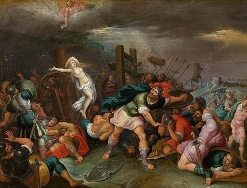 Martirio de la Santa en la rueda de cuchillas. Lienzo barroco de Hieronymus Francken II.
