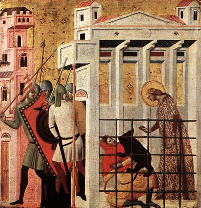 La Santa en la celda meretricia. Giovanni Baronzio (ca.1340). Pinacoteca de Brera, Milán (Italia).