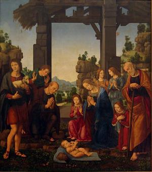 """""""Adoración de los Pastores"""". Óleo de Lorenzo d'Andrea d'Oderigo (siglo XVI)."""