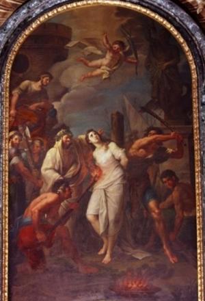 Martirio de la Santa. Óleo de Antonio Concioli. Catedral de Rieti (Italia).