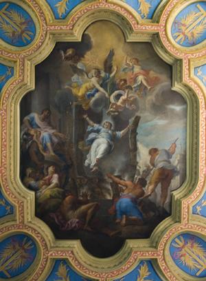 Martirio de la Santa. Fresco en el techo de la Basílica de Santa Anastasia en Roma (Italia).