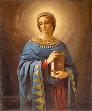 La Gran Mártir Anastasia. Mosaico ortodoxo de Frólov. Catedral de San Petersburgo (Rusia)