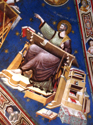 Detalle del Santo evangelista en un fresco de la catedral de Tolentino (Italia).