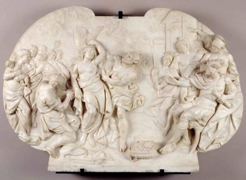 La Santa, quemada con antorchas. Relieve escultórico de Roberto Michel, c. 1753–61. Museo Nacional del Prado, Madrid (España).