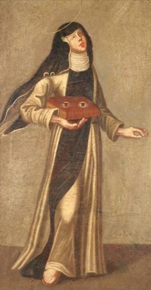 Pintura alemana de la Santa, representada como religiosa cisterciense y portando el libro con los ojos, símbolo de su patronazgo sobre la vista.