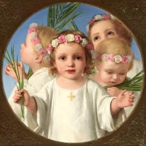 Los Santos Inocentes, niños mártires de Belén. Lienzo decimonónico.