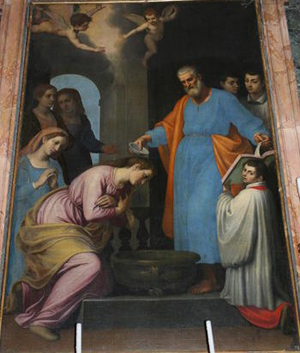 """Bautizo de Santa Prisca"", lienzo en la Basílica de Santa Prisca All'Aventino, Roma (Italia)."