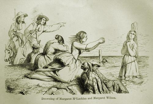 Grabado de la ejecución por ahogamiento de las protestantes Margaret McLahan y Margaret Wilson.