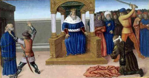 Miniatura del martirio del Santo en un manuscrito de Jean de Vignay (s.XIV).