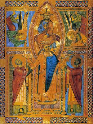 Efigie del Santo en un sacramentario alemán del siglo XIII.