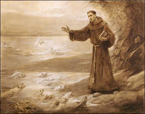San Antonio de Padua predica a los peces. Obra de Marià Benlliure.