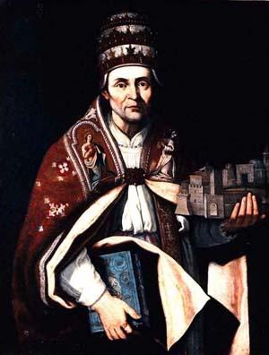Óleo de San Celestino V por Giulio Cesare Bedeschini (s. XVII). Museo de L'Aquila, Italia.