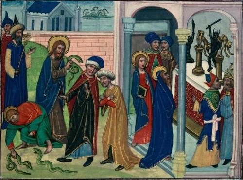Milagros de los Santos Simón y Judas. Iluminación de un manuscrito de la Leyenda Áurea, Jean le Tavernier (s.XV).