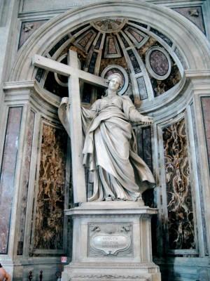 """Colosal escultura de la Santa, obra de Andrea Borghi """"Il Carrarino"""". Basílica de San Pedro del Vaticano, Roma (Italia)."""