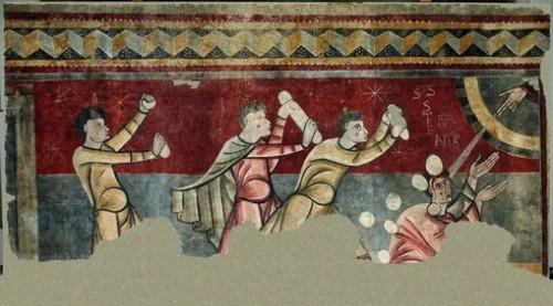 Martirio del Santo. Mural románico catalán en la iglesia de Sant Joan de Boi, Lleida (España).
