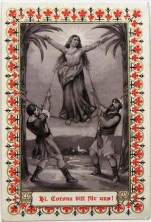 Santa Estefanía (Corona) izada entre dos palmeras dobladas para su descuartizamiento. Estampa popular alemana (s.XIX).