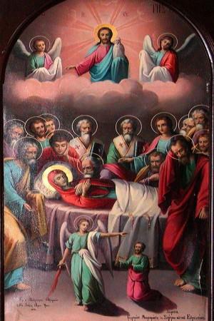 Dormición de la Virgen. Pintura contemporánea sobre tabla. Iglesia Ortodoxa de San Jorge en Greenville, Carolina del Sur (EEUU).