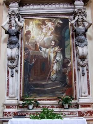 Lienzo de San Antonio Maria Zaccaria, obra de Mattia Traverso. Iglesia de San Sebastián, Livorno (Italia).