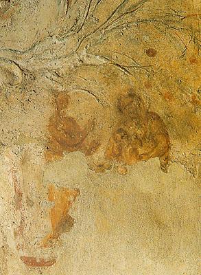 Fresco paleocristiano de la Virgen con el Niño y un diácono que señala hacia Ella. Catacumbas de Priscila, Roma, siglo II.