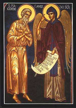 San Pacomio y el ángel. Icono ortodoxo francés.