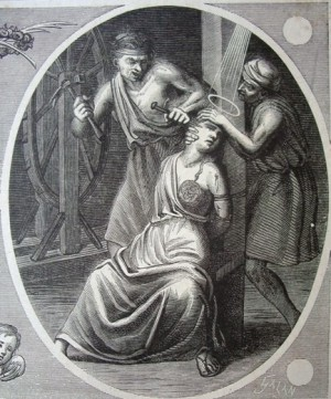 Inserción del clavo en la frente de la Santa. Grabado del martirio para un calendario de Santos español.