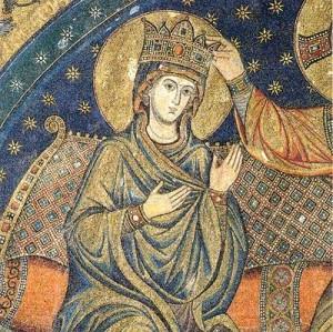 Detalle de la Virgen coronada. Fresco de Jacopo Torriti (1296). Ábside de Santa María la Mayor, Roma (Italia).