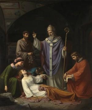 """""""Entierro de Santa Cecilia en las catacumbas de Roma"""" (1852), óleo de Luis de Madrazo y Kuntz. Museo Nacional del Prado, Madrid (España)."""