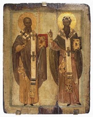 Icono bizantino de los Santos Atanasio (izqda.) y Cirilo (dcha.) de Alejandría.
