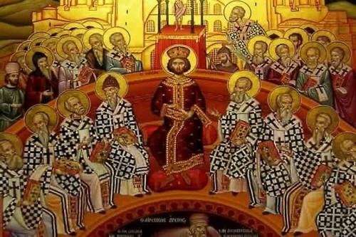 Detalle de un icono ortodoxo que representa el Concilio de Nicea.