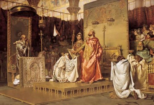 """""""Conversión de Recaredo"""", lienzo de Muñoz Degrain. Palacio del Senado, Madrid (España)."""