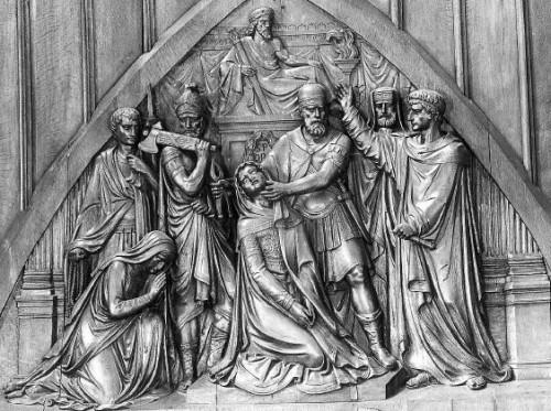 Martirio de Santa Apolonia. Relieve neoclásico tallado en madera de una iglesia francesa.