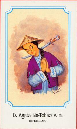 Estampa devocional italiana de la Santa, perteneciente a la serie del ilustrador Bertino.