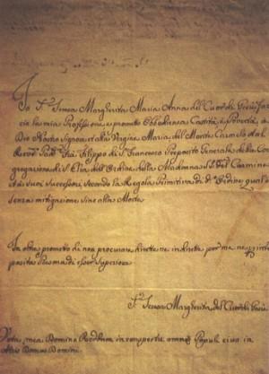 Vista del escrito de la profesión religiosa de la Santa, escrito a 12 de marco de 1766. Monasterio carmelita de Florencia, Italia.