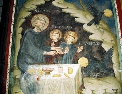 San Benito con San Mauro y San Plácido. En una serie de frescos que adornan Sacro Specco en Subiaco, Italia.