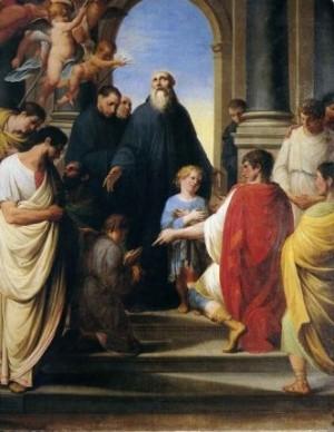 La presentación de San Mauro y San Plácido a San Benito, por Velazco.
