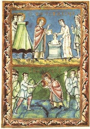 Ilustración del Sacramentario de Fulda, S. XI con dos escenas de la vida de San Bonifacio. Bautizando y siendo martirizado.