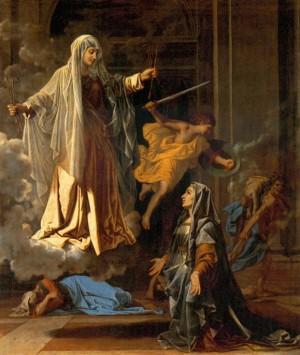 Santa Francisca Romana anuncia el fin de la plaga. Pintura de Nicolás Poussin.