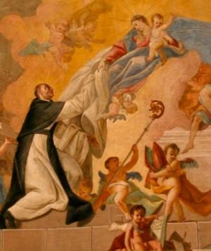 San Alberico de Citeaux recibe la cogulla monástica de la Santísima Virgen.