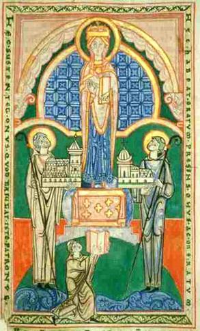 San Esteban Harding y San Vaast presentan los modelos de sus iglesias a Nuestra Señora.